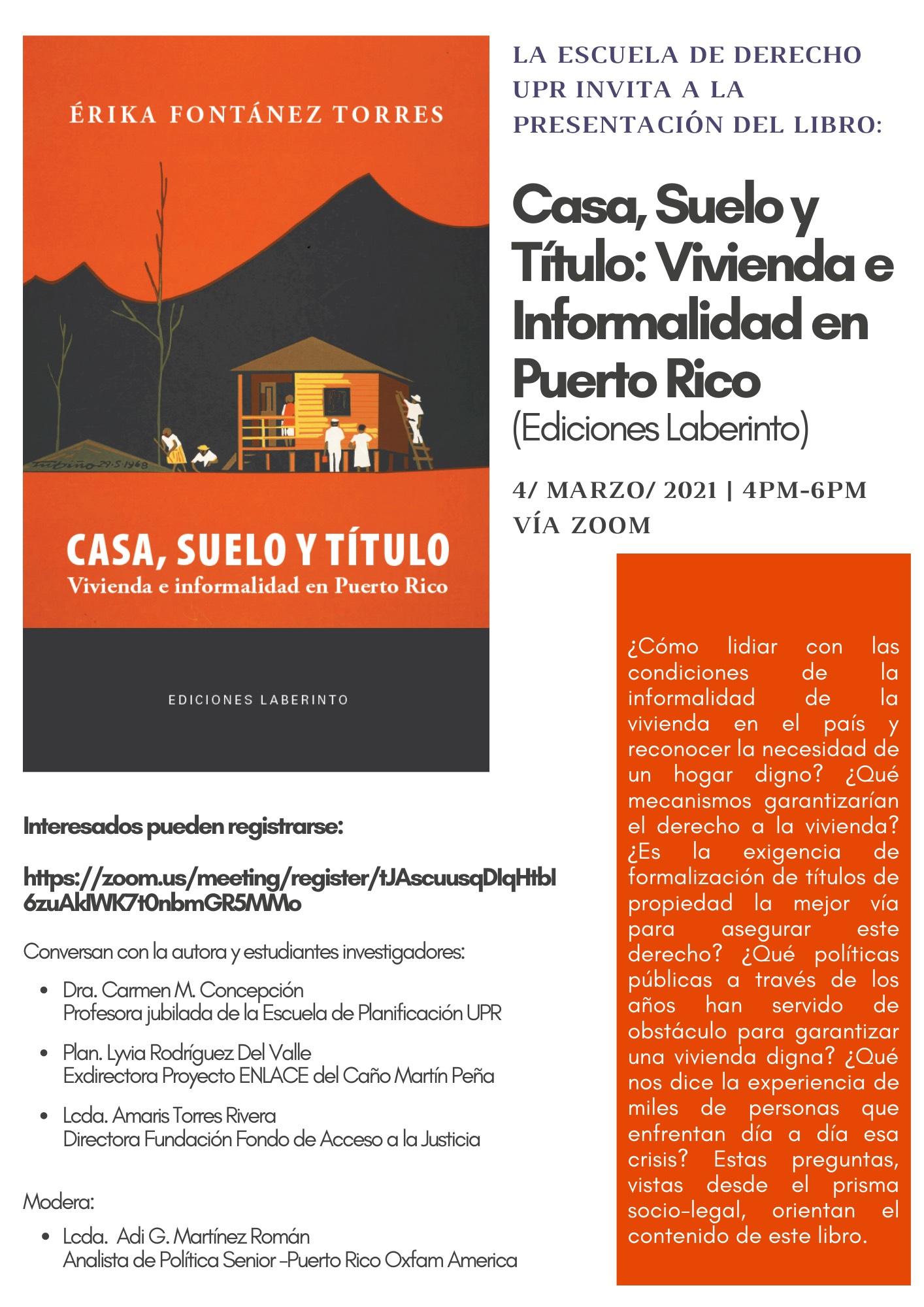 Presentación del libro: Casa, Suelo y Título: Vivienda e Informalidad en Puerto Rico