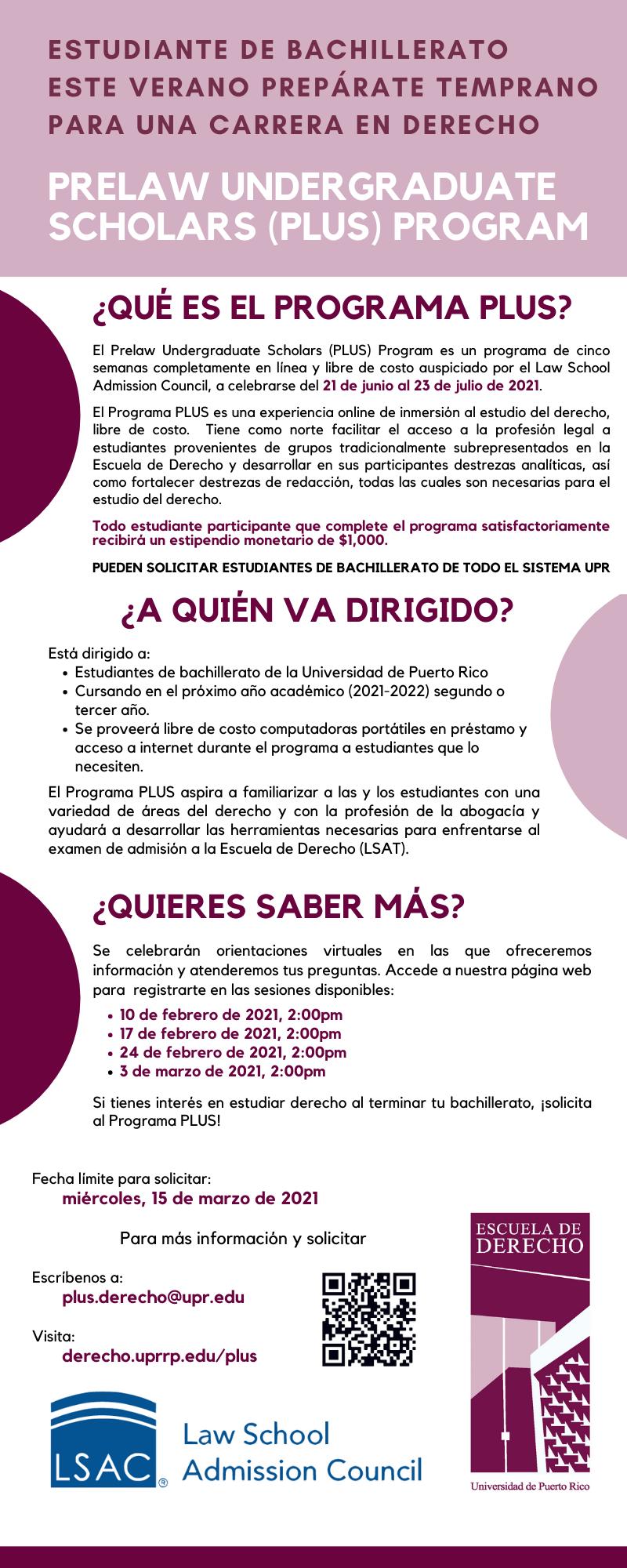 Orientaciones Programa PLUS aceptando estudiantes del Sistema UPR
