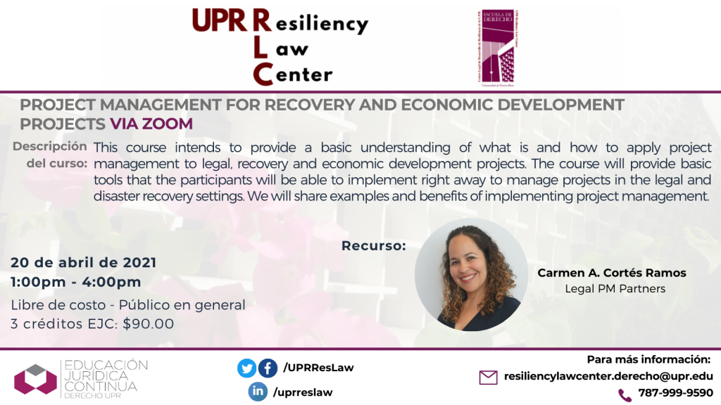 RLC-Project Management for Recovery and Economic Development Projects