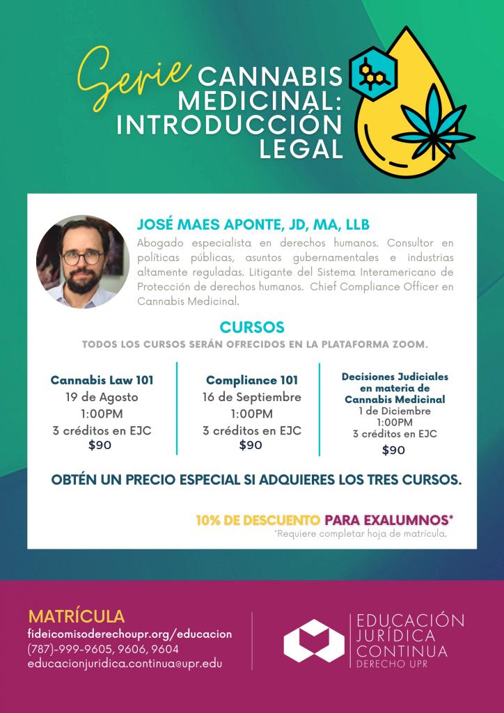 (EJC) Cannabis Medicinal: Introducción Legal – Compliance 101 Vía ZOOM