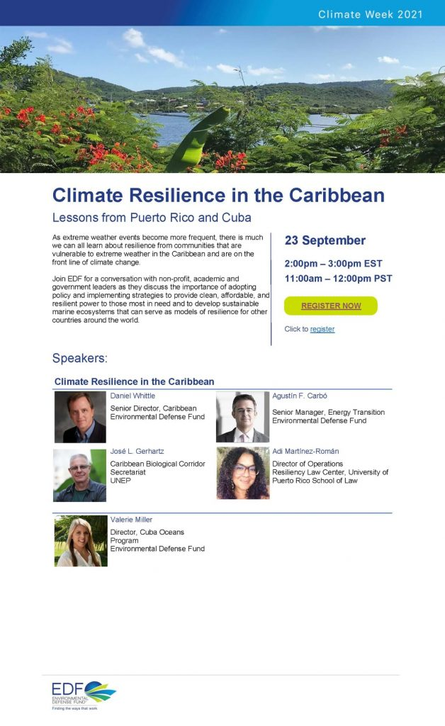 """Conversatorio """"Climate Resilience in the Caribbean: Lessons from Puerto Rico and Cuba"""""""