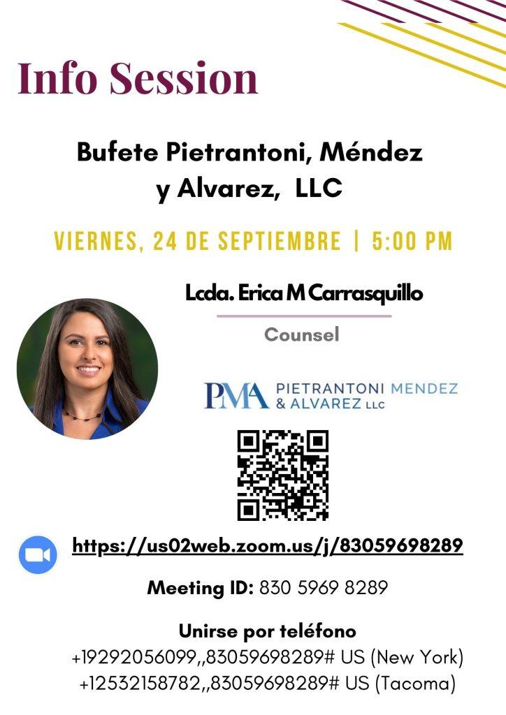 Sesión informativaBufete Pietrantoni, Méndez y Alvarez, LLC.
